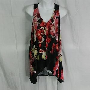 Adrianna Papell shark bite floral tunic top large
